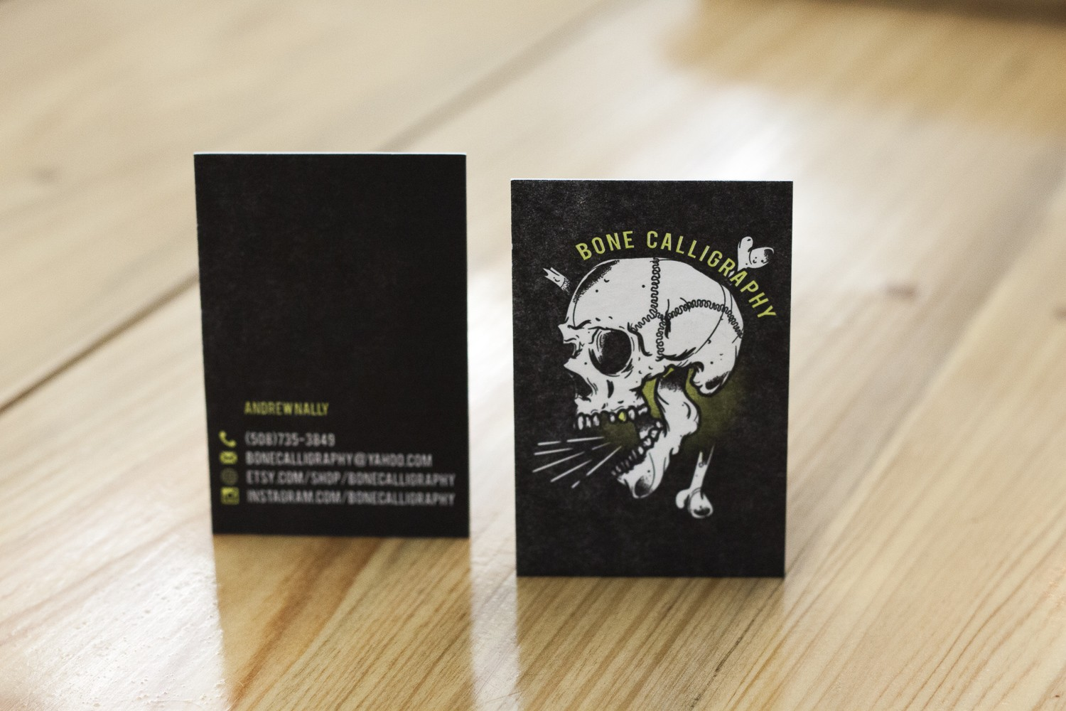 Bone Calligraphy Business Cards - A Fine Press