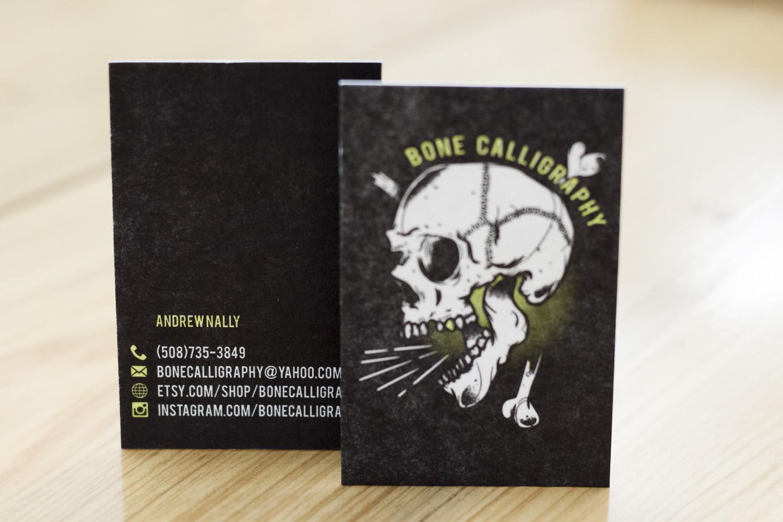 Bone calligraphy business cards a fine press bonecalligraphy letterpress business cards by a fine press 3 magicingreecefo Choice Image