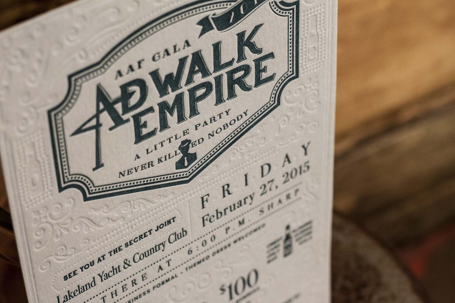 AdWalk Empire Letterpress Invitations