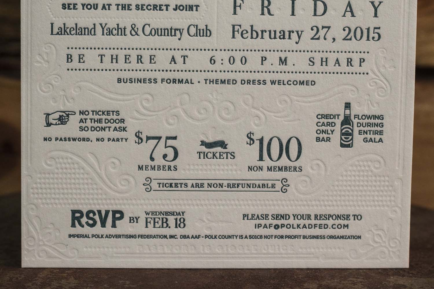 AdWalk Empire Letterpress Invitations - A Fine Press