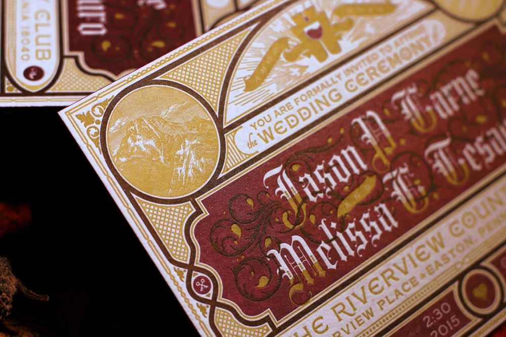 Letterpress wedding invitations for type designer Jason Carne