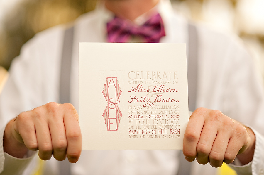 Letterpress and laser-engraved art deco invitations