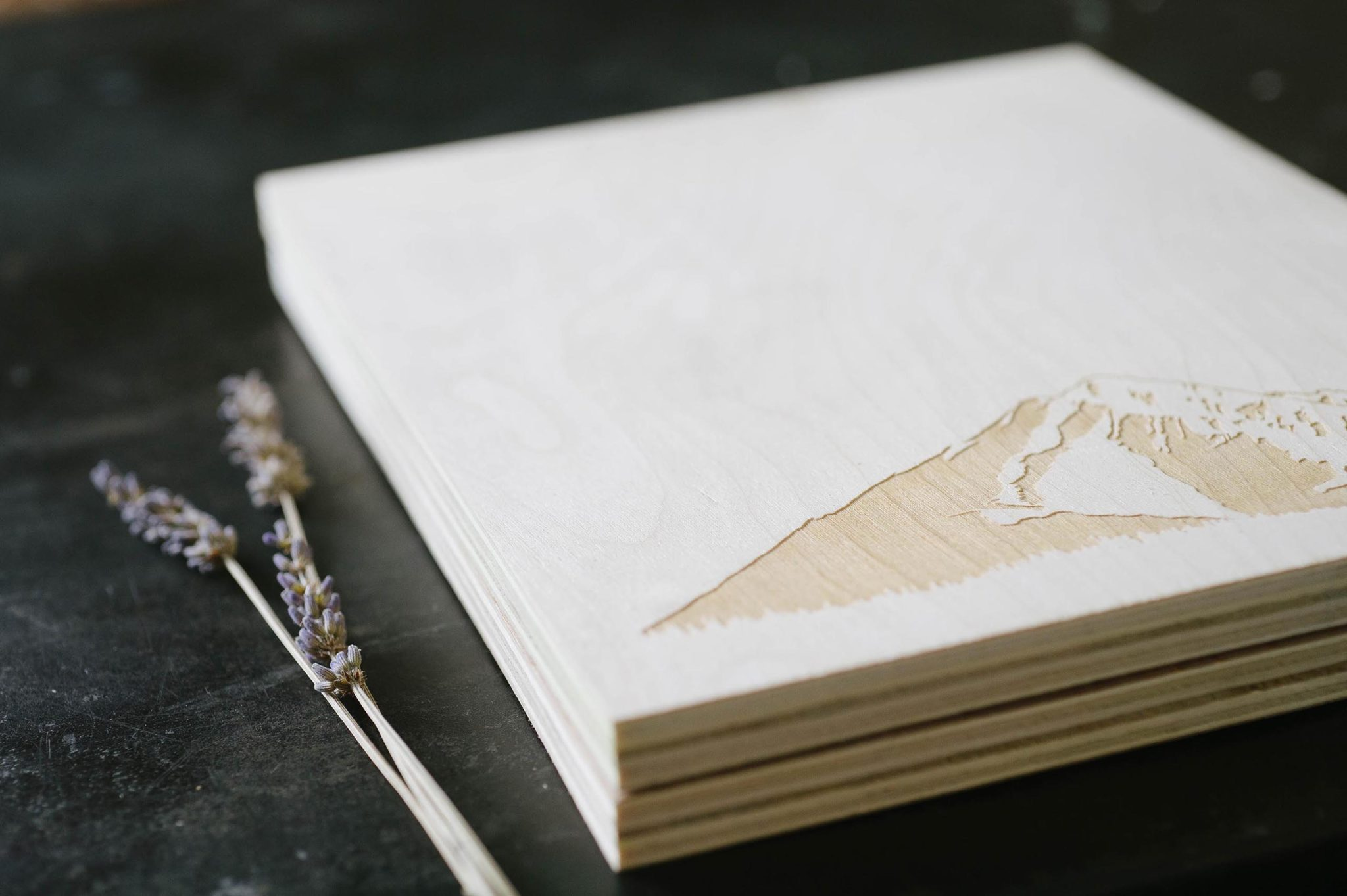 Concrete (screenprinted) and Wood (laser-engraved) Luxury Wedding Invitation from A Fine Press