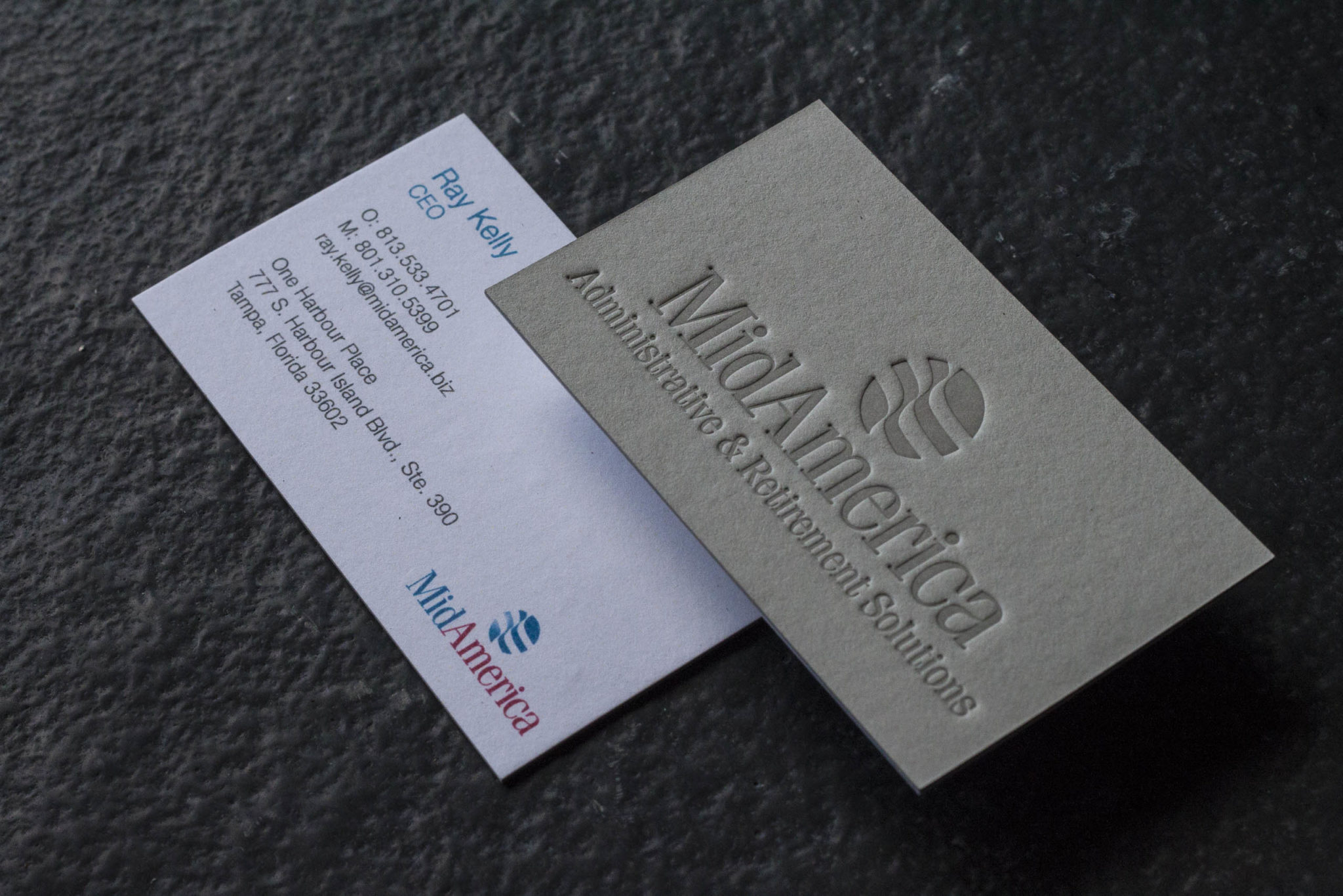 MidAmerica's deep-impression business cards
