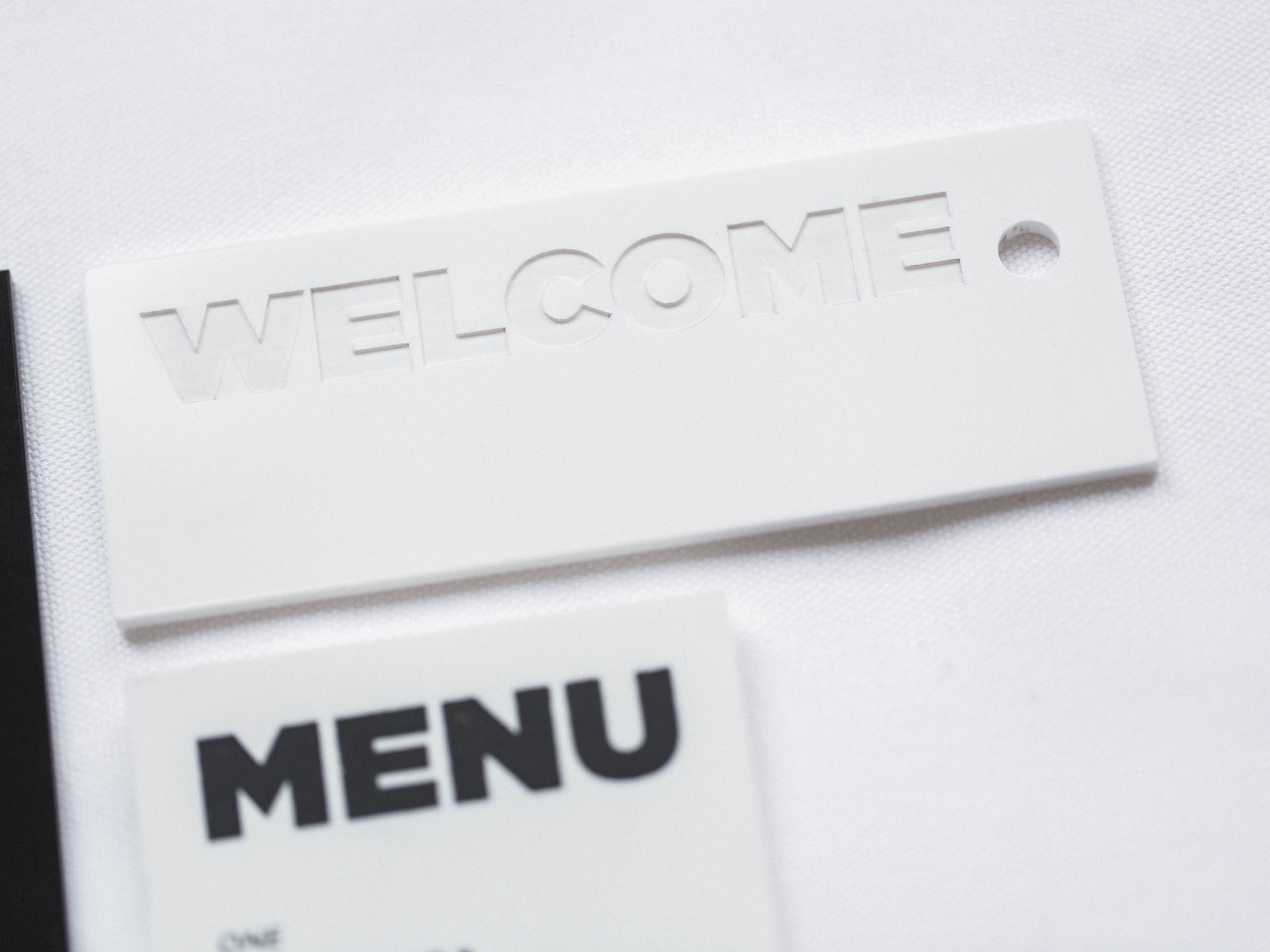 And white-on-white welcome messages are chic as can be
