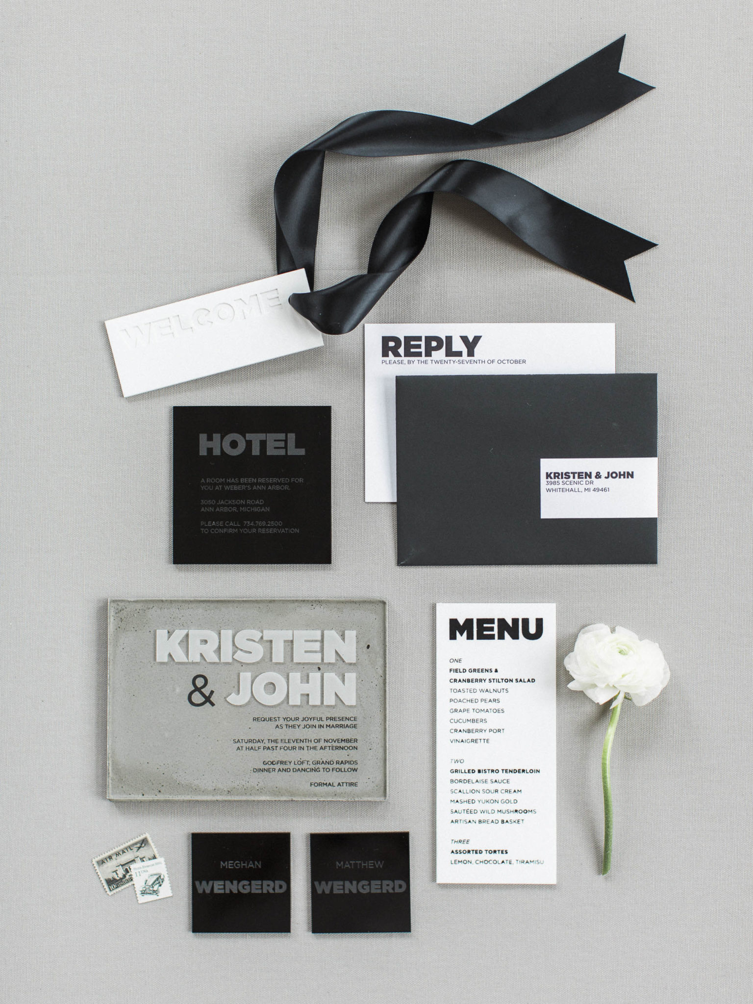 Concrete and Acrylic details, accented by practical paper for the RSVP