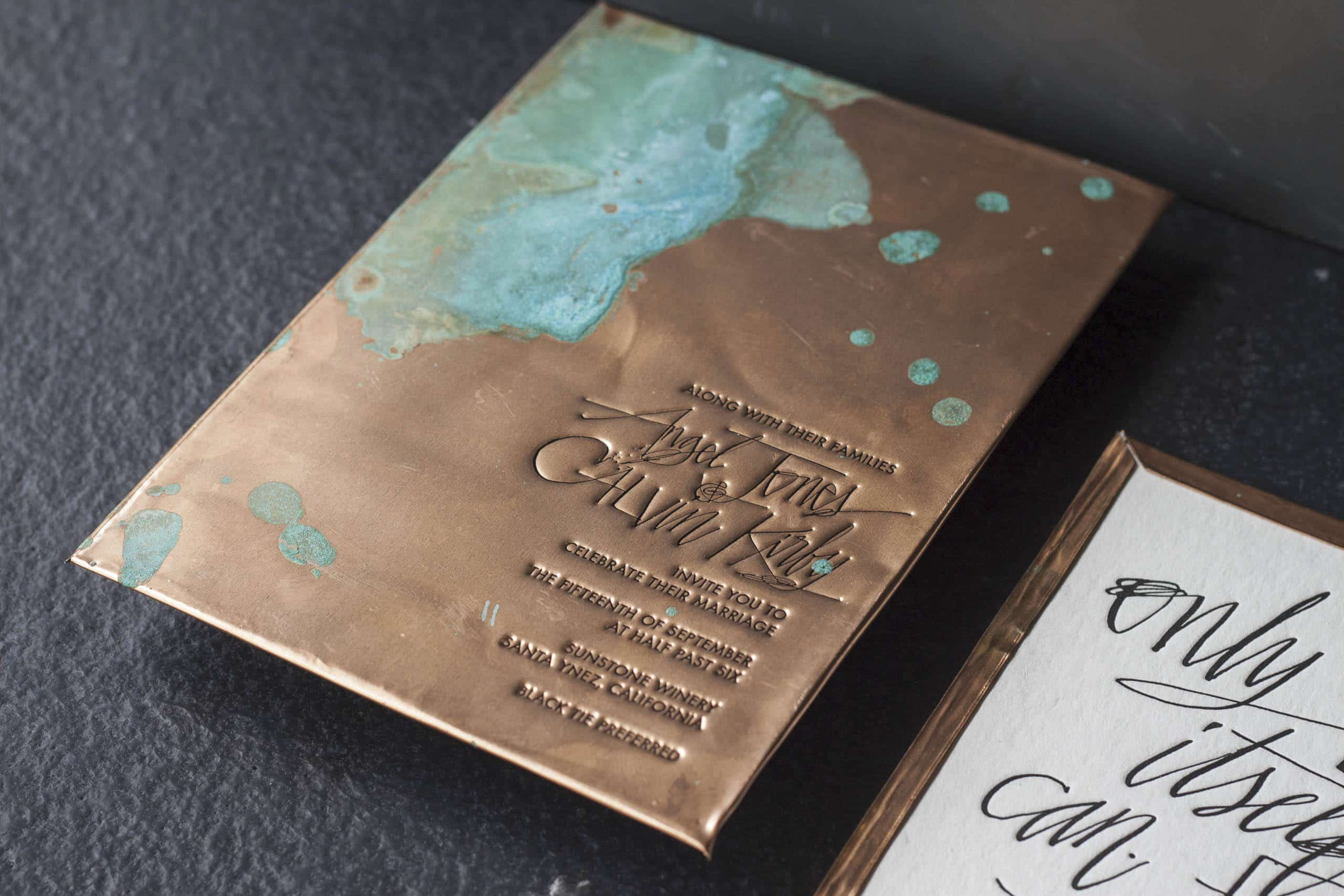 Copper Letterpress Invitations
