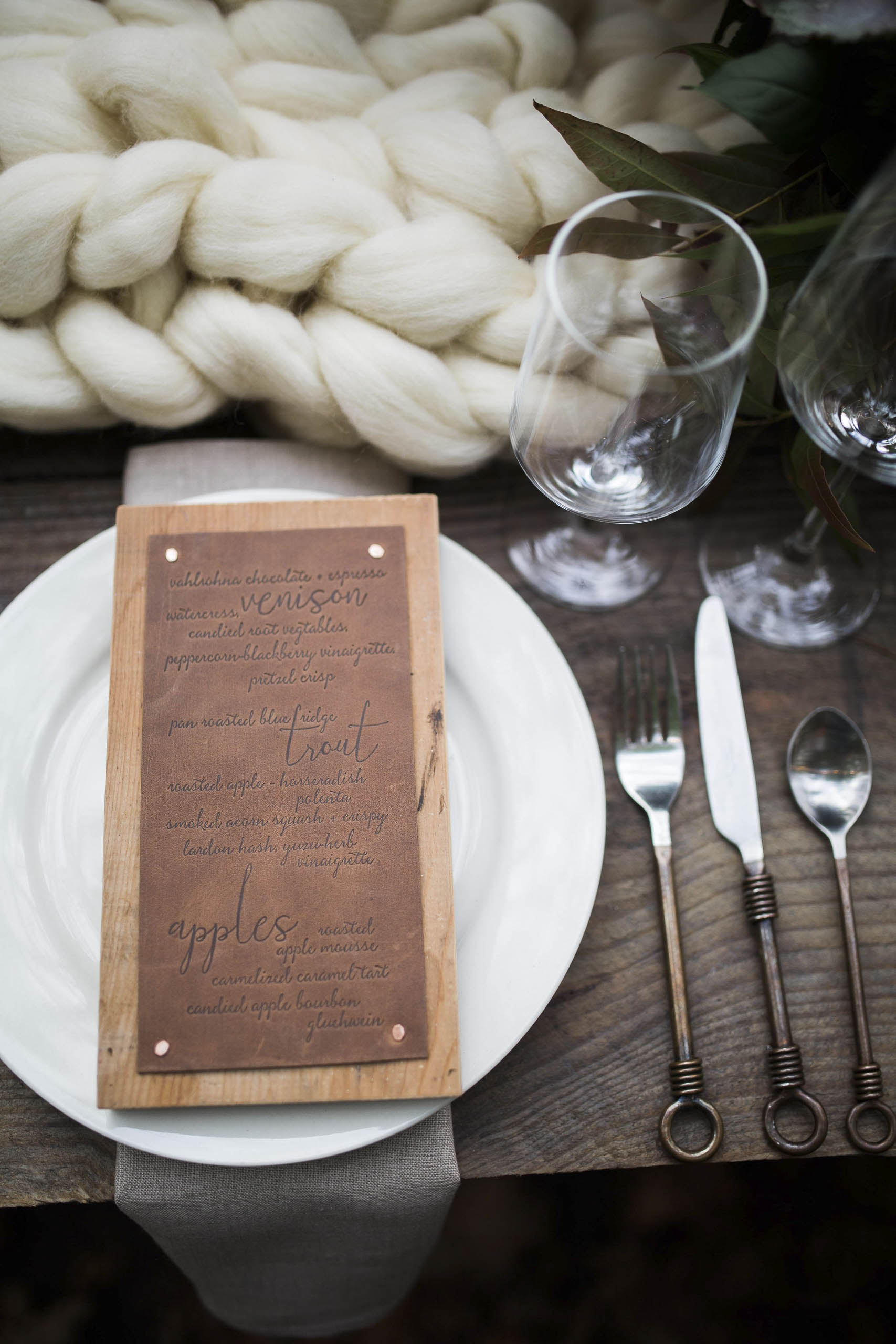 Wood and Leather Menus for the Vero Workshop