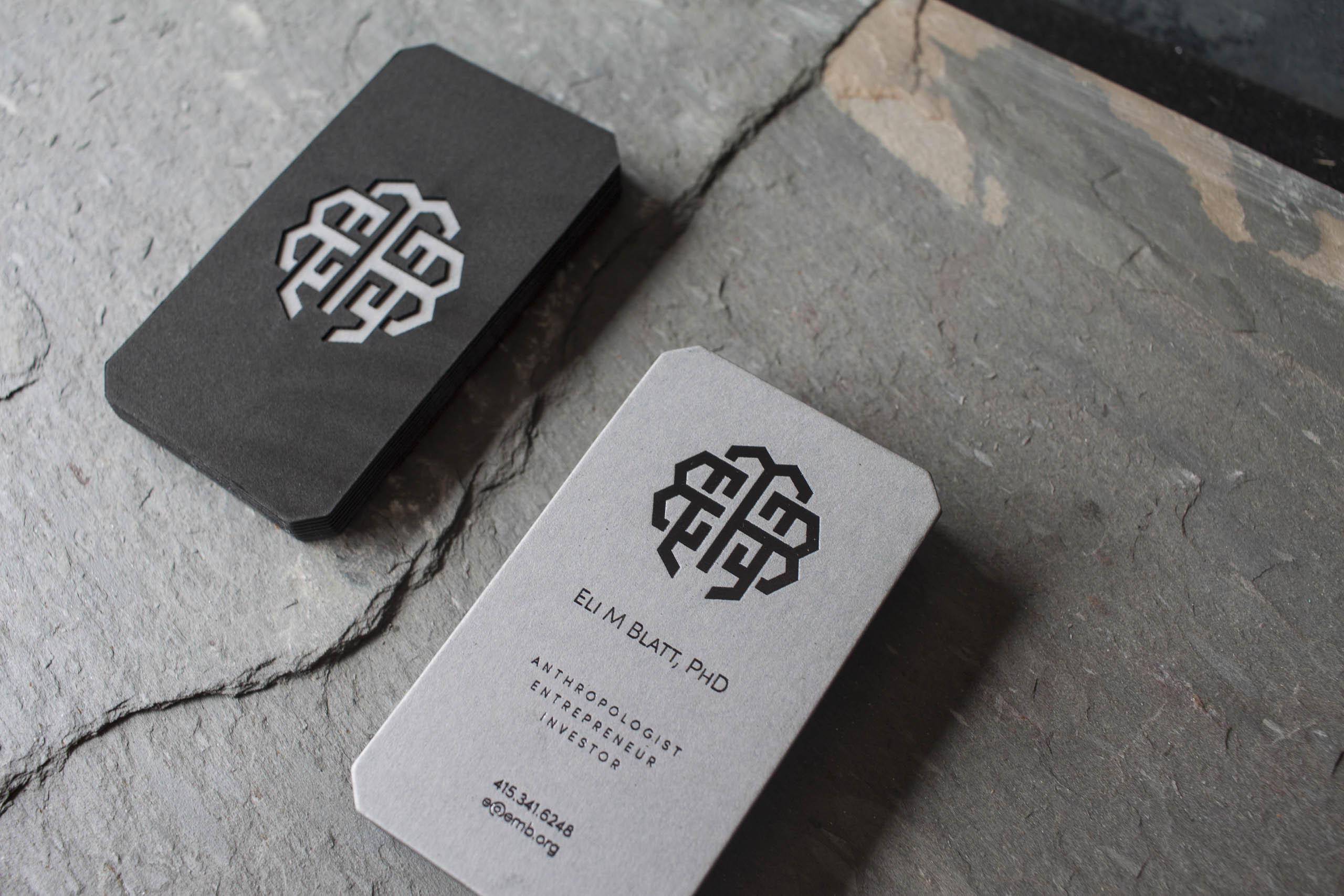 foil stamped laser cut business cards for eli a fine press
