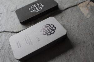 Foil Stamped + Laser Cut Business Cards for Eli