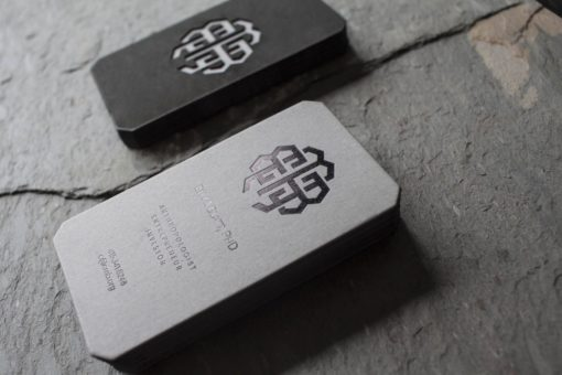 Foil Stamped + Laser Cut Business Cards for Eli