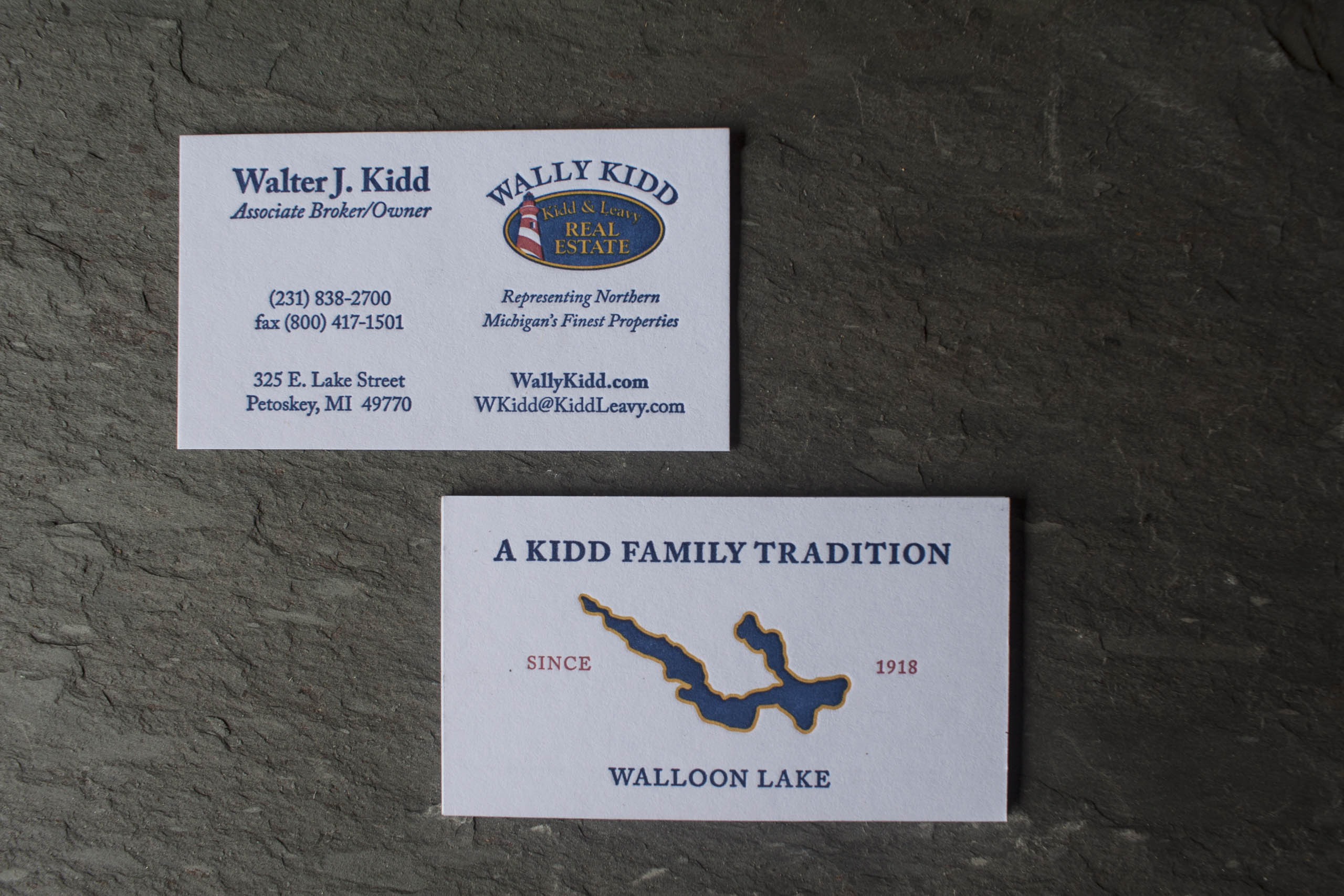 Luxury Real Estate Business Cards for Wally Kidd - A Fine Press