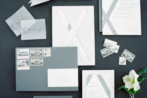 Brushed Aluminum Luxury Wedding Invitations