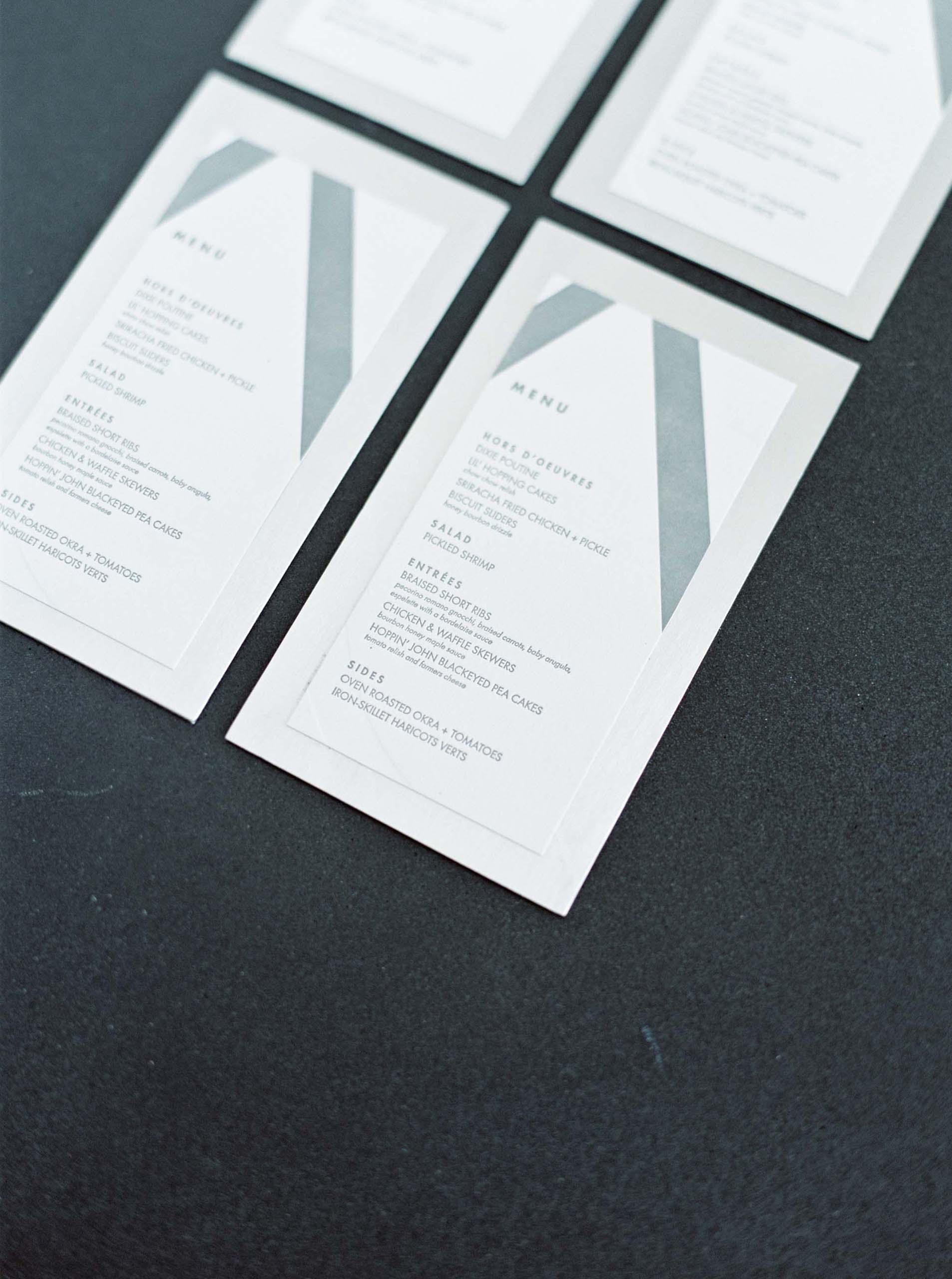 Aluminum-Mounted Letterpress Menus