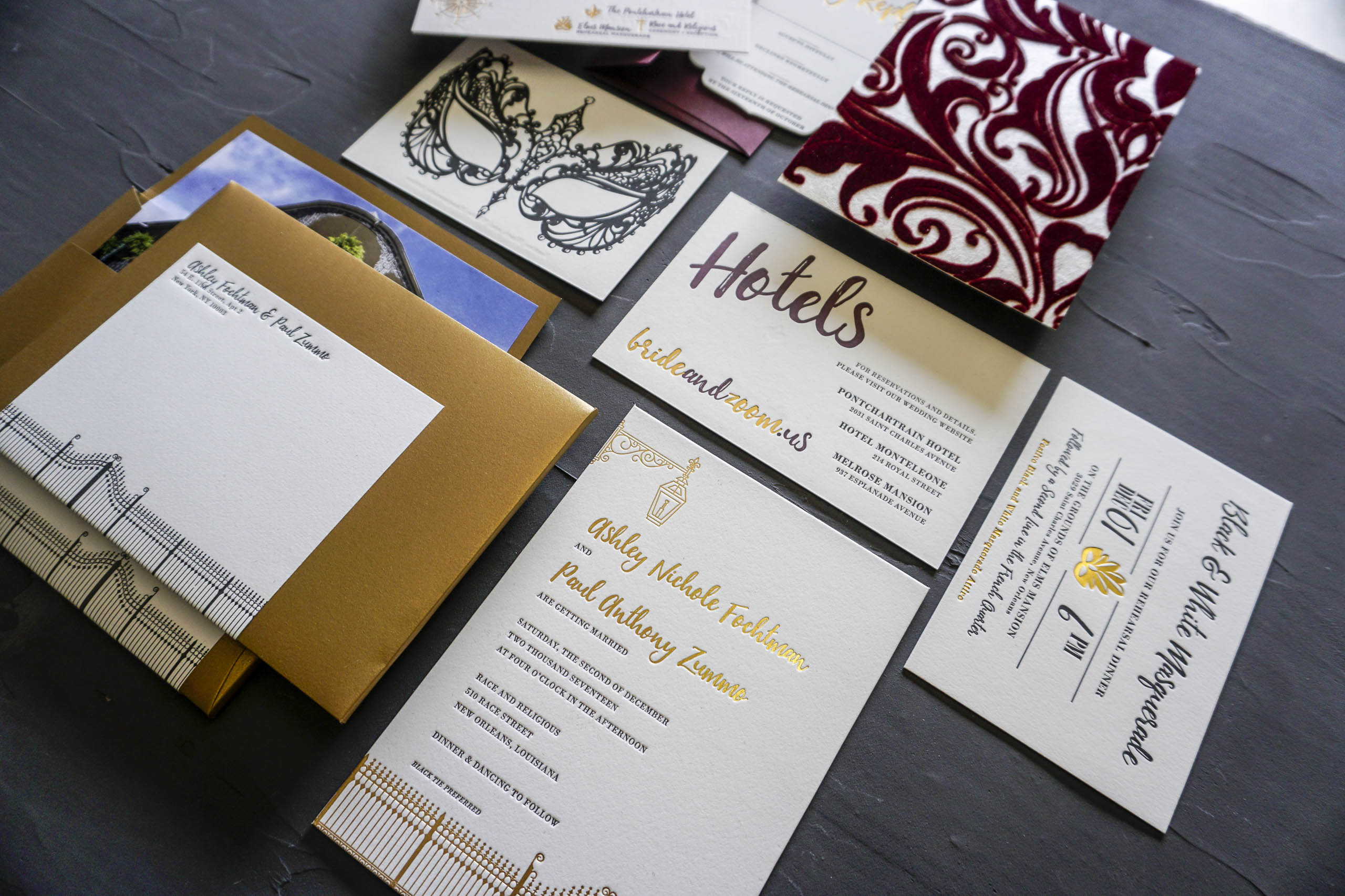 Luxury New Orleans Wedding Invitation
