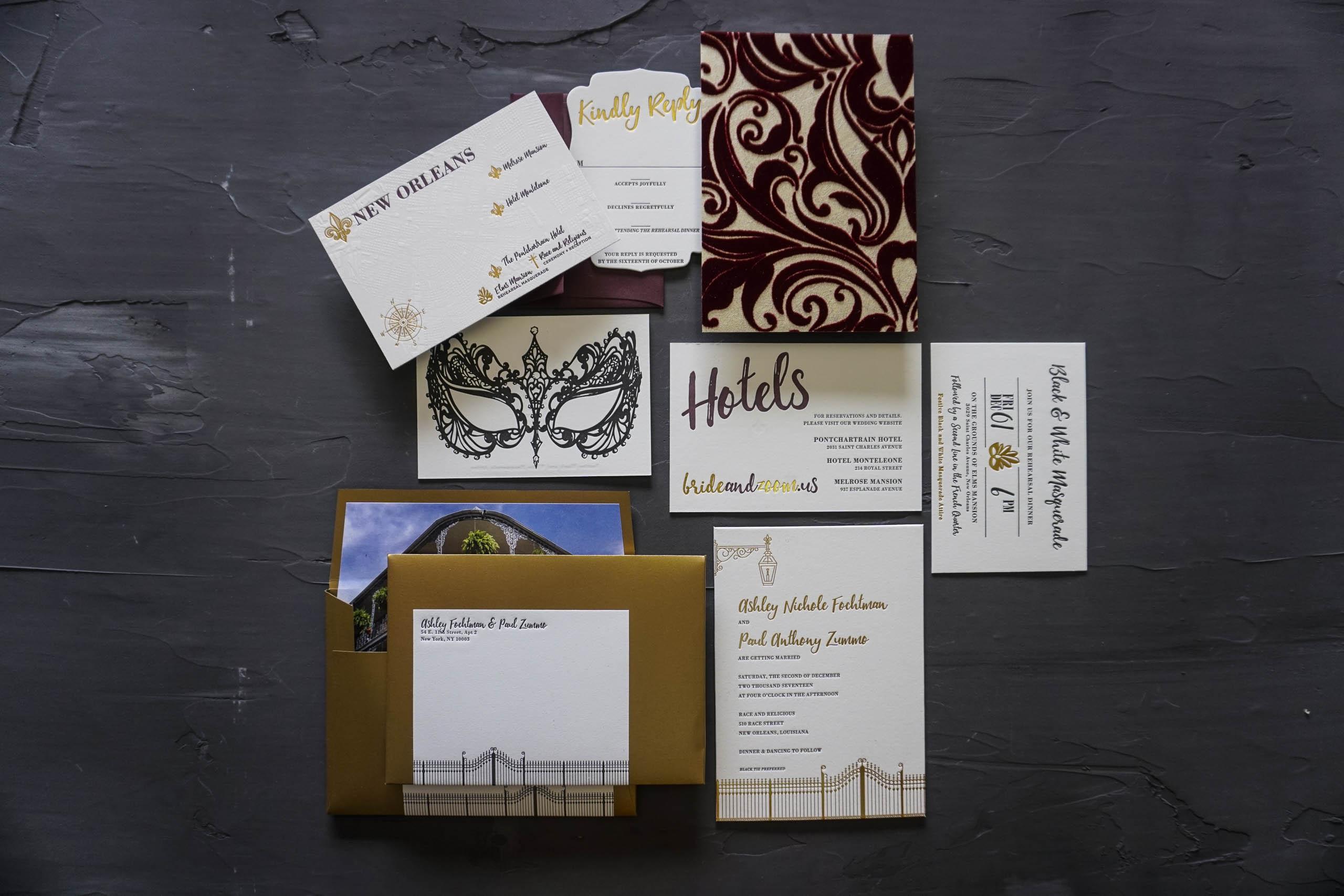 Luxury French Quarter Wedding Invitation