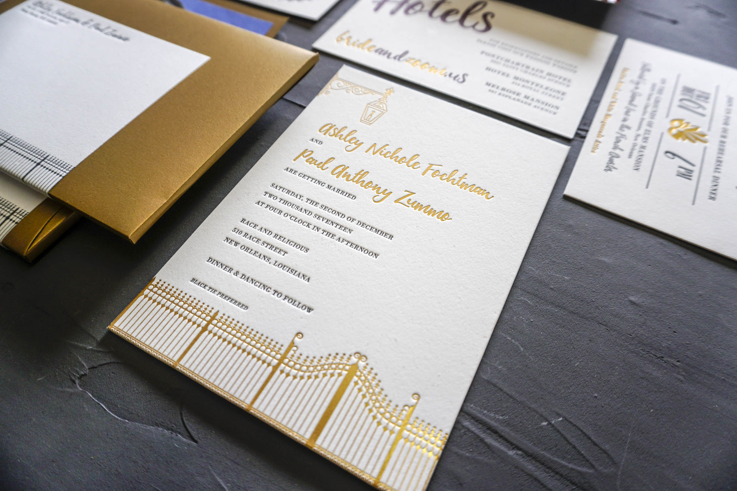 Gold Foil and Letterpress New Orleans Wedding Invitation