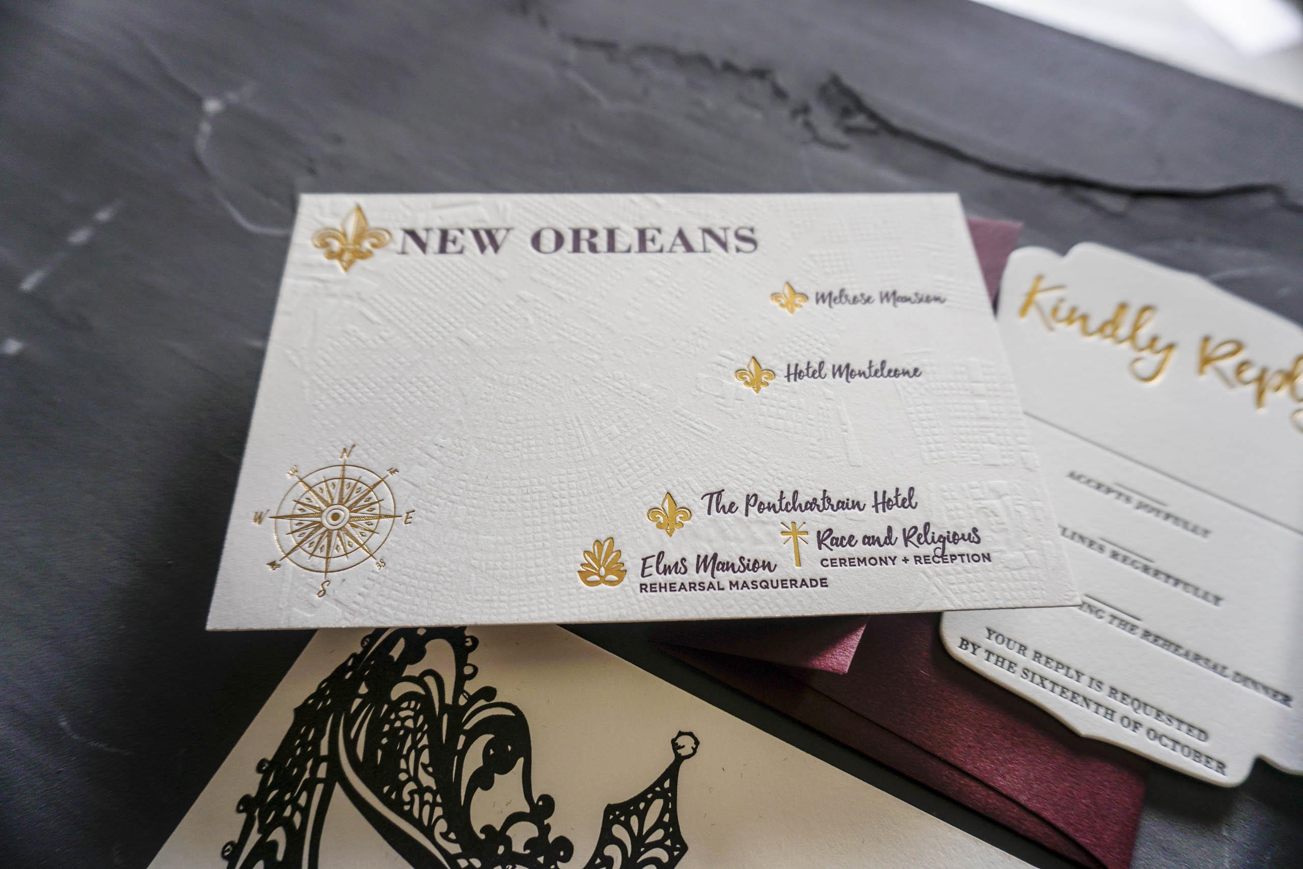 Blind Letterpress wedding map
